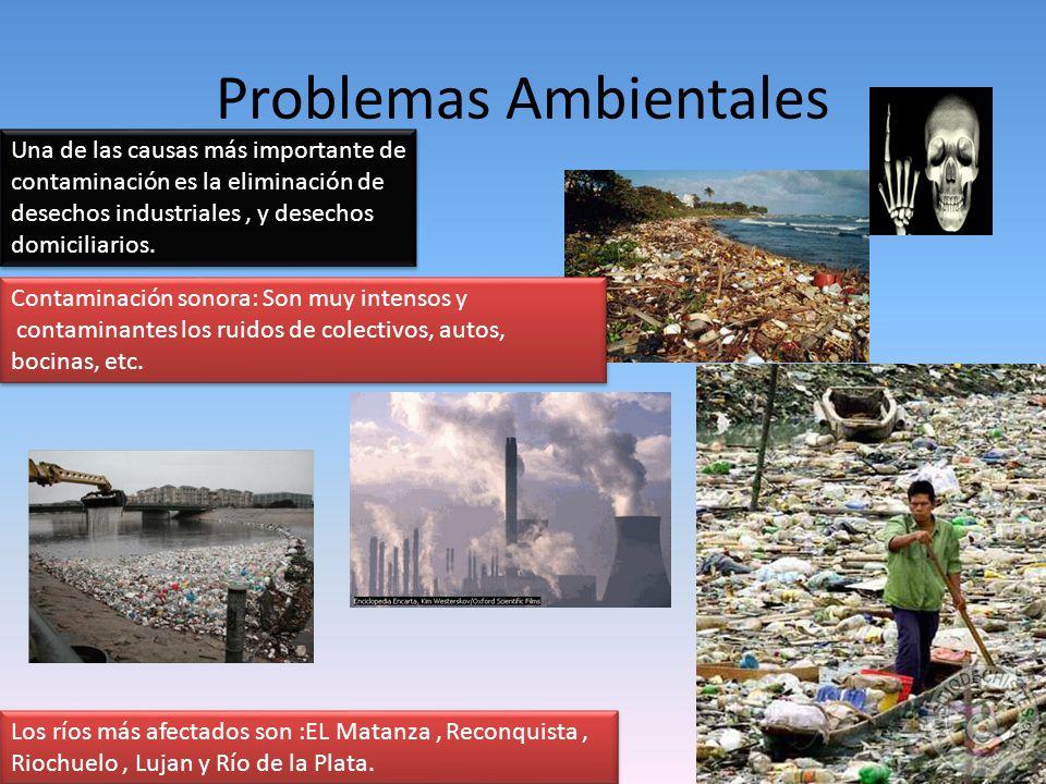 Problemas Ambientales Los ríos más afectados son :EL Matanza, Reconquista, Riochuelo, Lujan y Río de la Plata. Una de las causas más importante de con