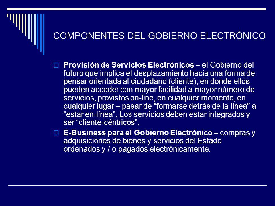 COMPONENTES DEL GOBIERNO ELECTRÓNICO Provisión de Servicios Electrónicos – el Gobierno del futuro que implica el desplazamiento hacia una forma de pen