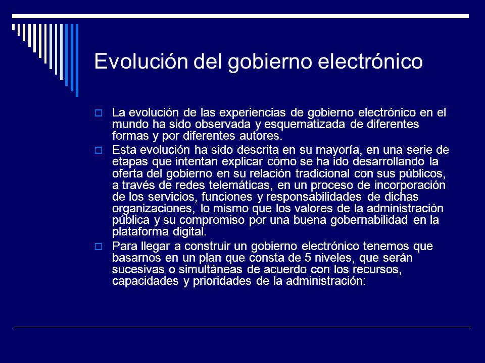 Evolución del gobierno electrónico La evolución de las experiencias de gobierno electrónico en el mundo ha sido observada y esquematizada de diferente