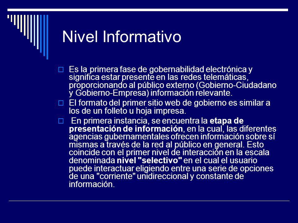 Nivel Informativo Es la primera fase de gobernabilidad electrónica y significa estar presente en las redes telemáticas, proporcionando al público exte