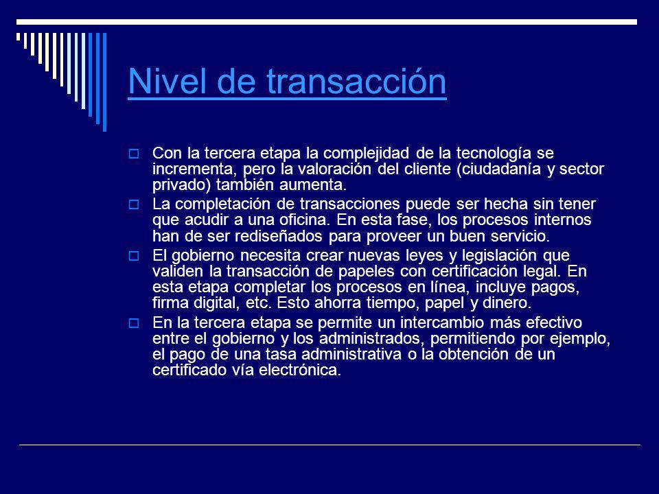 Nivel de transacción Con la tercera etapa la complejidad de la tecnología se incrementa, pero la valoración del cliente (ciudadanía y sector privado)