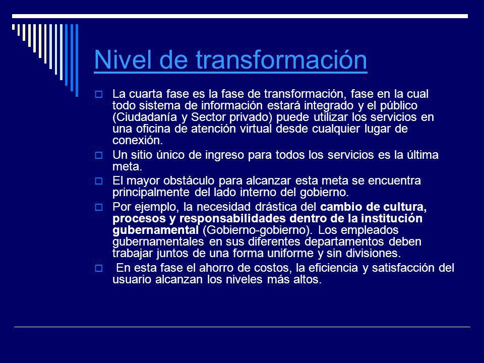 Nivel de transformación La cuarta fase es la fase de transformación, fase en la cual todo sistema de información estará integrado y el público (Ciudad