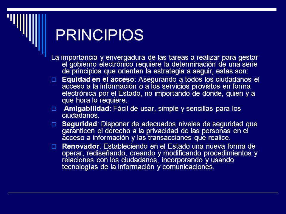 PRINCIPIOS La importancia y envergadura de las tareas a realizar para gestar el gobierno electrónico requiere la determinación de una serie de princip