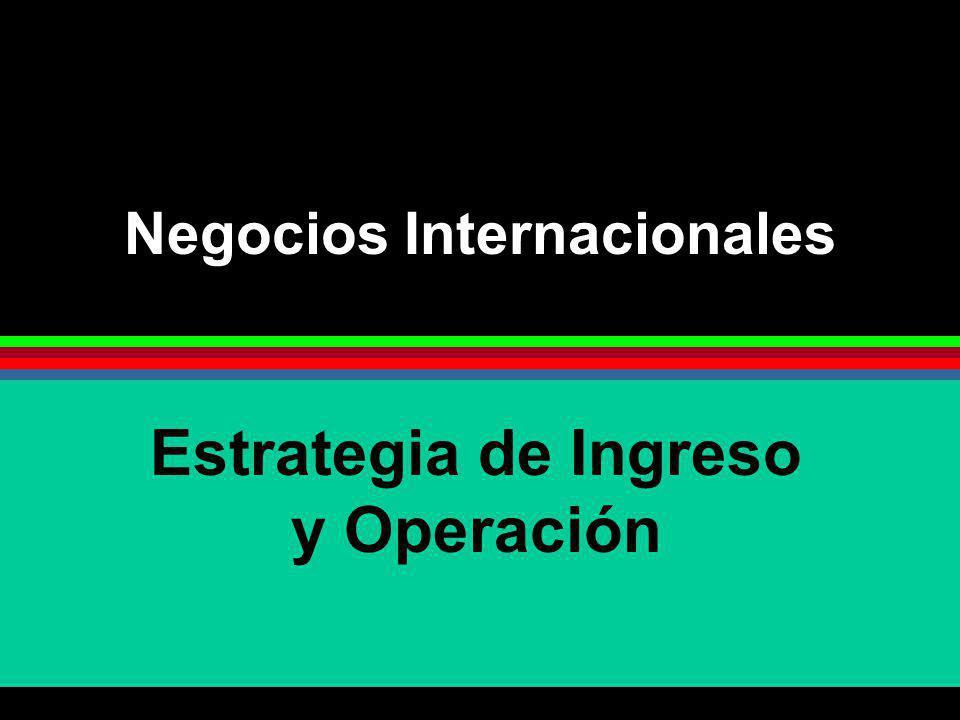 Negocios Internacionales Estrategia de Ingreso y Operación
