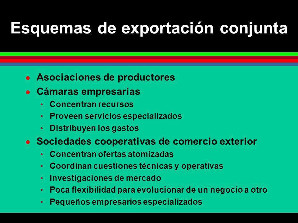 Esquemas de exportación conjunta Asociaciones de productores Cámaras empresarias Concentran recursos Proveen servicios especializados Distribuyen los