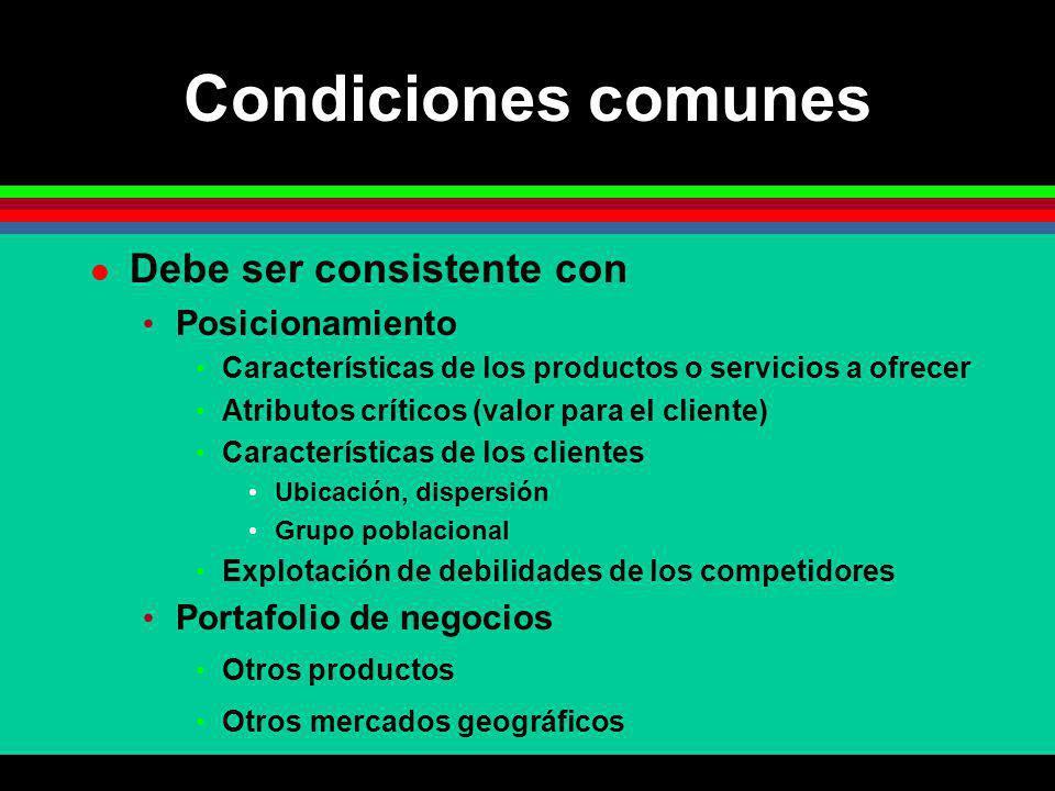 Condiciones comunes Debe ser consistente con Posicionamiento Características de los productos o servicios a ofrecer Atributos críticos (valor para el