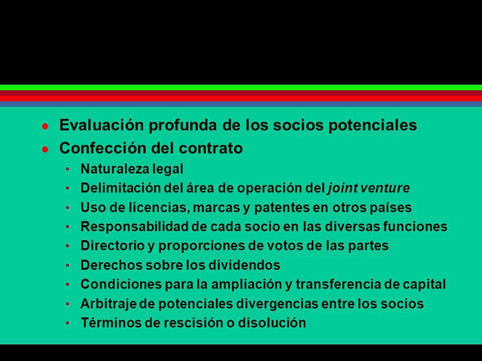 Evaluación profunda de los socios potenciales Confección del contrato Naturaleza legal Delimitación del área de operación del joint venture Uso de lic