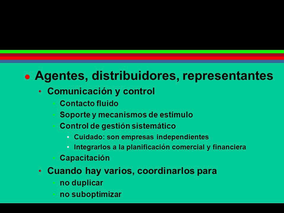 Agentes, distribuidores, representantes Comunicación y control Contacto fluido Soporte y mecanismos de estímulo Control de gestión sistemático Cuidado