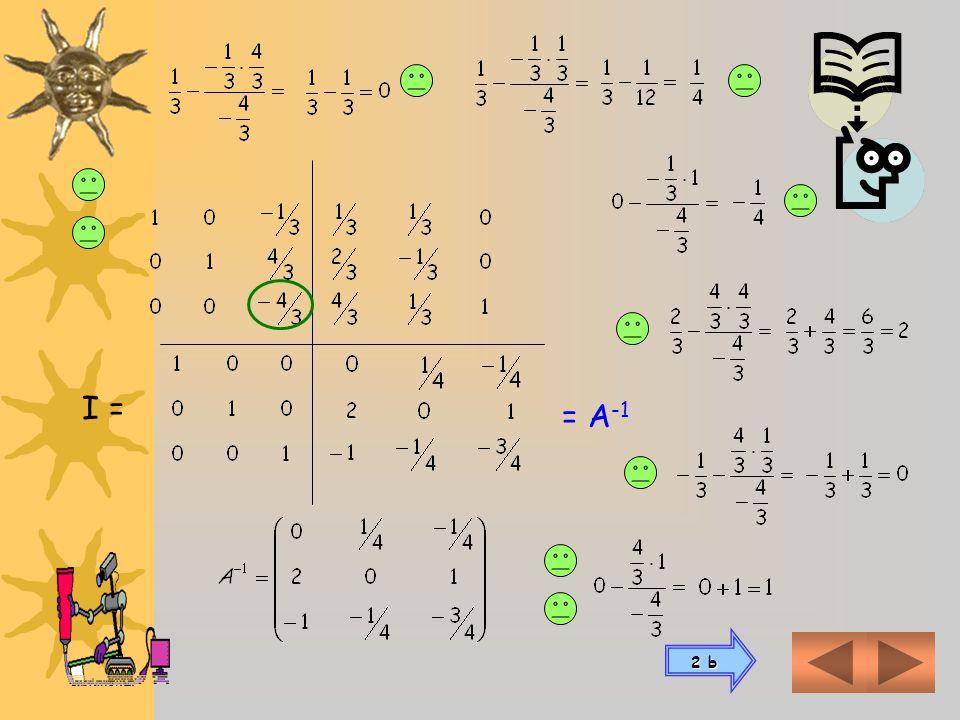 Conformamos un esquema con la matriz A a la izquierda y una matriz unidad de igual clase que A al la derecha AI Luego de sucesivas operaciones element