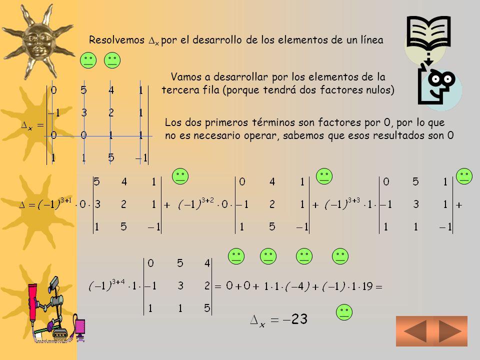 Y resolvemos cada uno de los determinantes Aplicando el método del desarrollo por los elementos de una línea Vamos a desarrollar por los elementos de