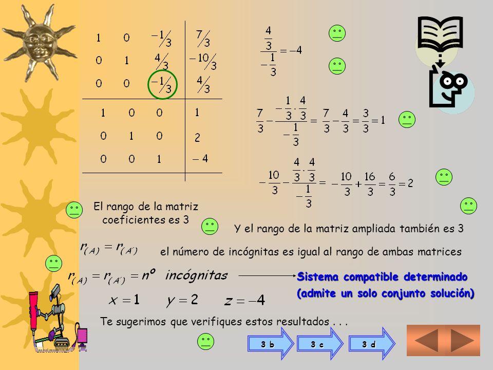 3 a) Para resolver sistema de tres ecuaciones con tres incógnitas para aplicar las operaciones elementales, conformamos primero la matriz de coeficien