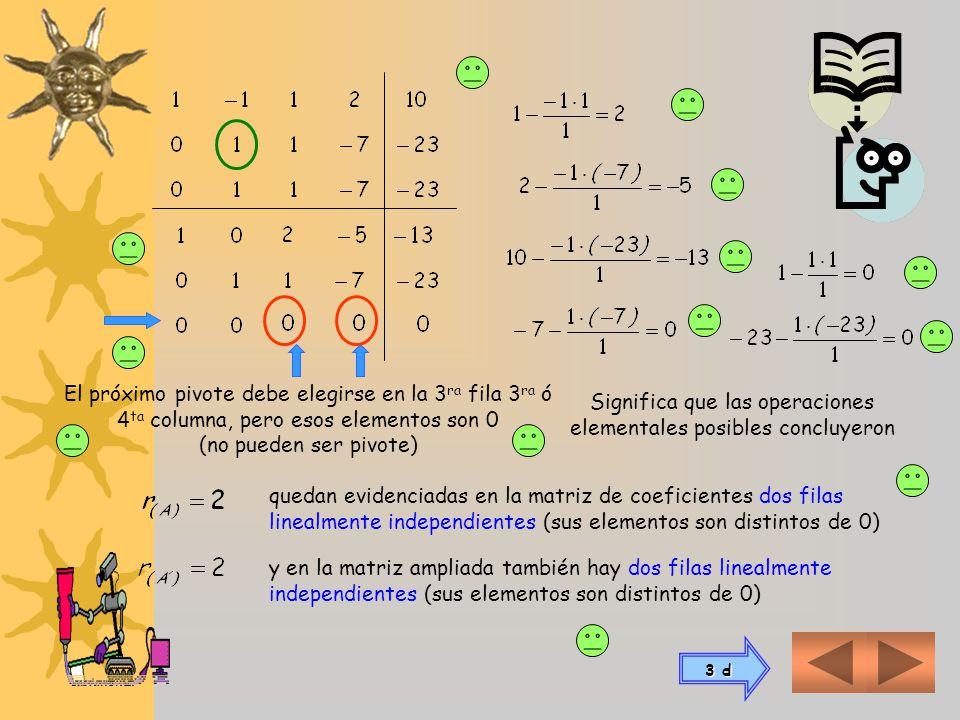 3 c) Para resolver sistema de tres ecuaciones con cuatro incógnitas Para aplicar las operaciones elementales, conformamos primero la matriz de coefici