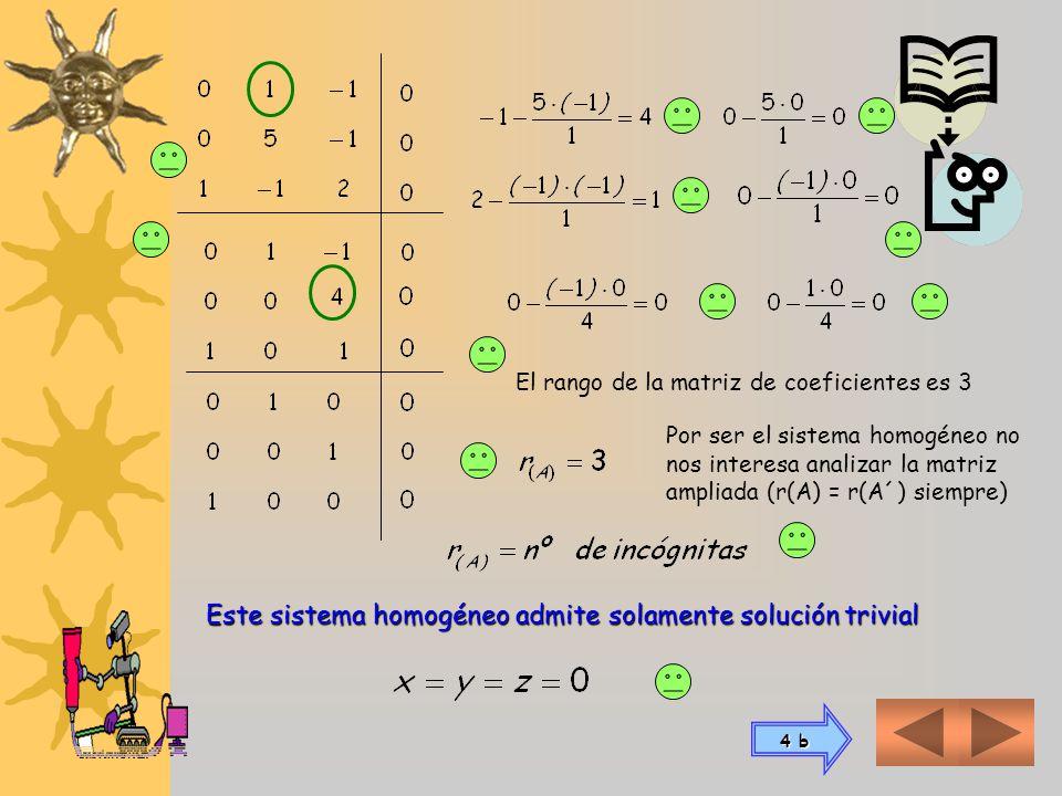 4 a) Para resolver un sistema homogéneo, trabajamos como si fuera un sistema normal Sabiendo que el sistema homogéneo será siempre compatible Solo nos