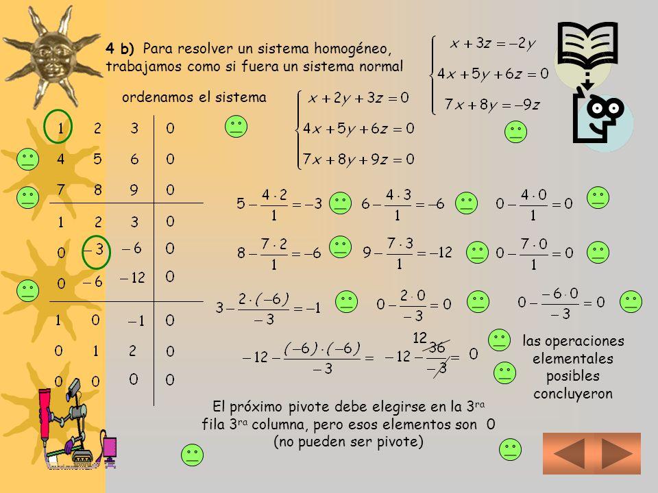 El rango de la matriz de coeficientes es 3 Por ser el sistema homogéneo no nos interesa analizar la matriz ampliada (r(A) = r(A´) siempre) Este sistem