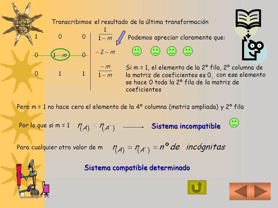 5) Para determinar, si existen los valores de m R, tales que el sistema sea : a) compatible determinado, b)Incompatible y c) Compatible indeterminado