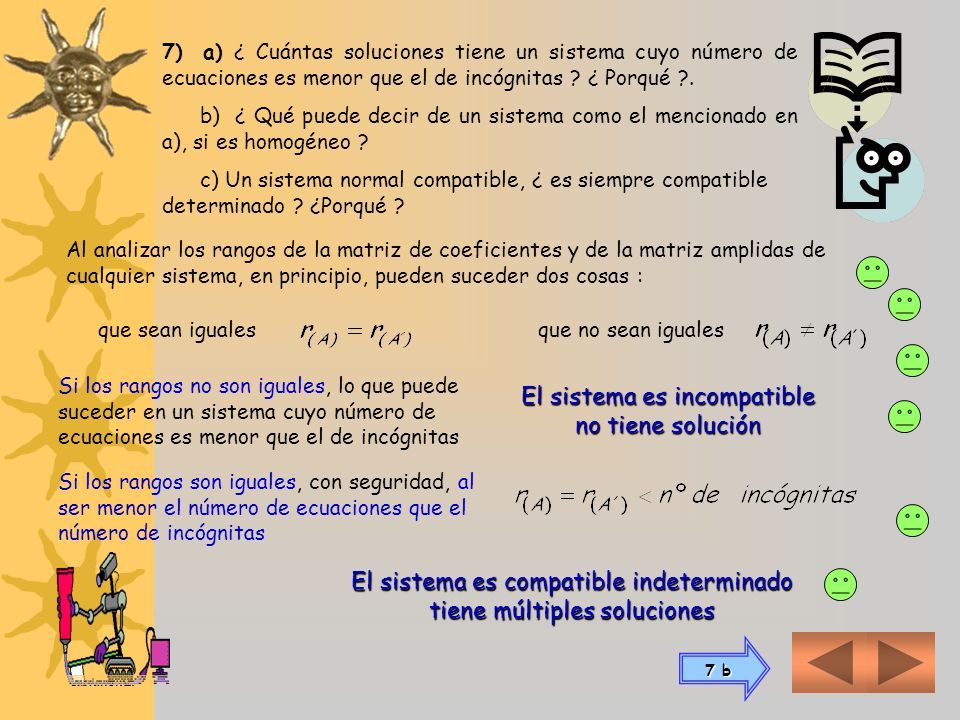 Las matrices coeficientes y ampliada equivalentes luego de las transformaciones elementales resultan: El rango de la matriz de coeficientes es 3 El ra