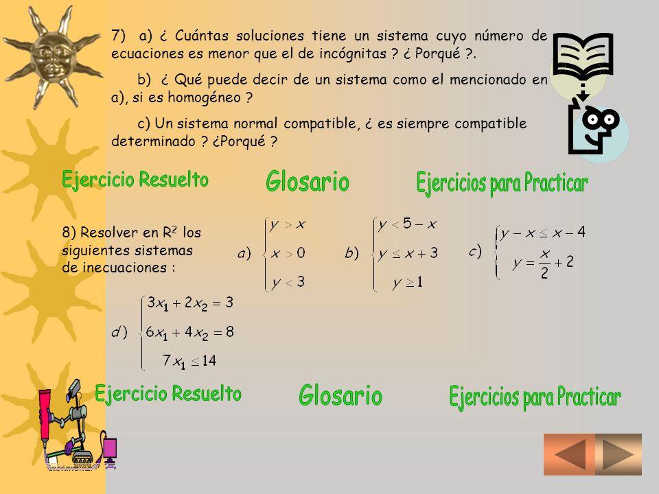 8 a) Para resolver inecuaciones, en general, las tratamos a cada inecuación como una ecuación y la representamos gráficamente Trazamos primero un par de ejes coordenados Luego analizamos la inecuación y > x como si se tratar de y = x Pero con trazos punteados porque no están incluidos los valores de y = x entre los que buscamos sino los de y > x sombreamos el semiplano que verifica y > x luego graficamos la región que verifica x > 0 Se aprecian cuatro regiones con diferentes sombras: El sombreado verde representa la primera inecuación El sombreado claro representa la segunda inecuación Se verifican ambas condiciones donde hay sombreado doble No se verifican ninguna de las condiciones donde no hay sombreado 8 d 8 d 8 c 8 c 8 b 8 b