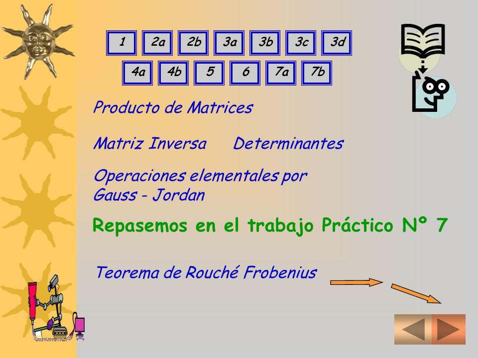 Producto de Matrices Repasemos en el trabajo Práctico Nº 7 Matriz InversaDeterminantes Operaciones elementales por Gauss - Jordan 12a2b3a3b3c3d 4a4b567a7b Teorema de Rouché Frobenius