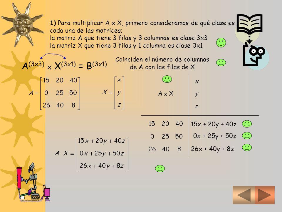 1) Para multiplicar A x X, primero consideramos de qué clase es cada una de las matrices; la matriz A que tiene 3 filas y 3 columnas es clase 3x3 la matriz X que tiene 3 filas y 1 columna es clase 3x1 A (3x3) x X (3x1) = B (3x1) Coinciden el número de columnas de A con las filas de X A x X 15x + 20y + 40z 0x + 25y + 50z 26x + 40y + 8z