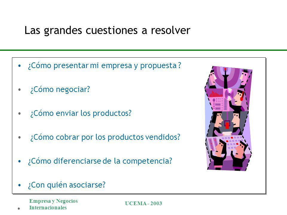 Empresa y Negocios Internacionales UCEMA - 2003 Las grandes cuestiones a resolver ¿Cómo presentar mi empresa y propuesta ? ¿Cómo negociar? ¿Cómo envia