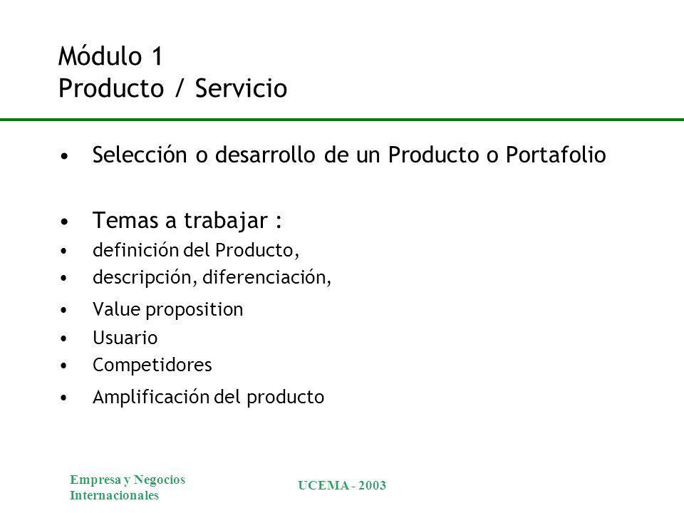 Empresa y Negocios Internacionales UCEMA - 2003 Módulo 1 Producto / Servicio Selección o desarrollo de un Producto o Portafolio Temas a trabajar : definición del Producto, descripción, diferenciación, Value proposition Usuario Competidores Amplificación del producto