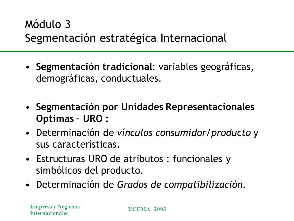 Empresa y Negocios Internacionales UCEMA - 2003 Módulo 3 Segmentación estratégica Internacional Segmentación tradicional: variables geográficas, demográficas, conductuales.
