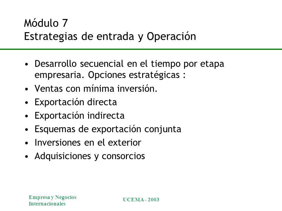 Empresa y Negocios Internacionales UCEMA - 2003 Módulo 7 Estrategias de entrada y Operación Desarrollo secuencial en el tiempo por etapa empresaria. O
