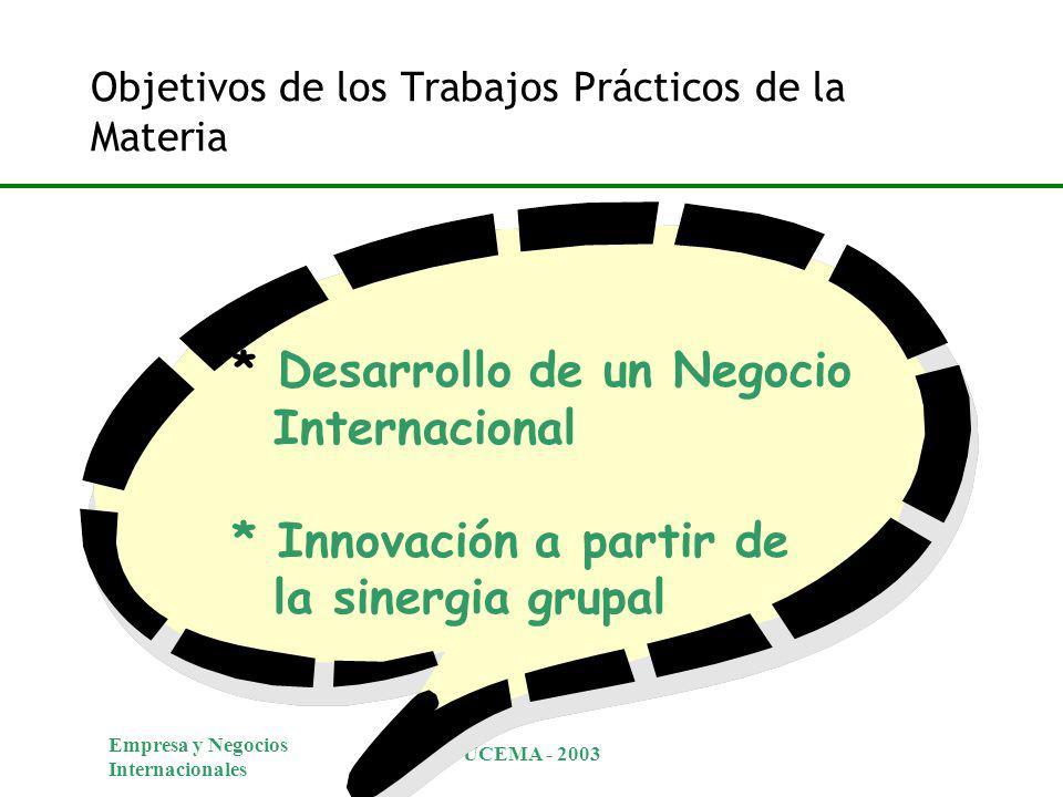 Empresa y Negocios Internacionales UCEMA - 2003 Objetivos de los Trabajos Prácticos de la Materia * Desarrollo de un Negocio Internacional * Innovación a partir de la sinergia grupal