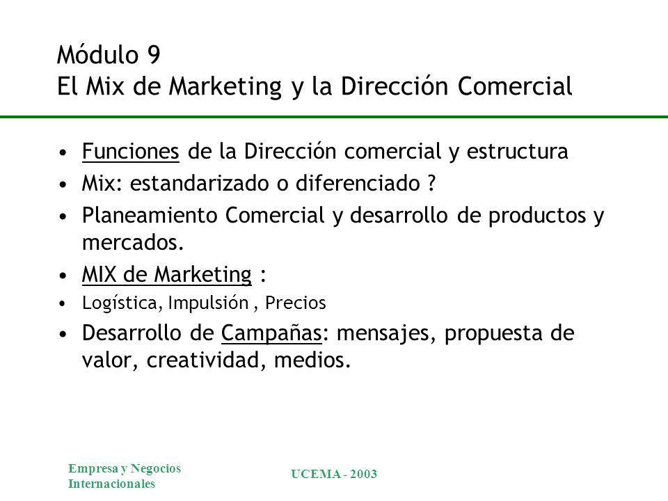 Empresa y Negocios Internacionales UCEMA - 2003 Módulo 9 El Mix de Marketing y la Dirección Comercial Funciones de la Dirección comercial y estructura Mix: estandarizado o diferenciado .