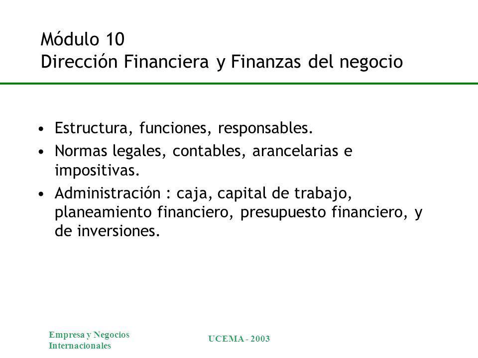 Empresa y Negocios Internacionales UCEMA - 2003 Módulo 10 Dirección Financiera y Finanzas del negocio Estructura, funciones, responsables. Normas lega