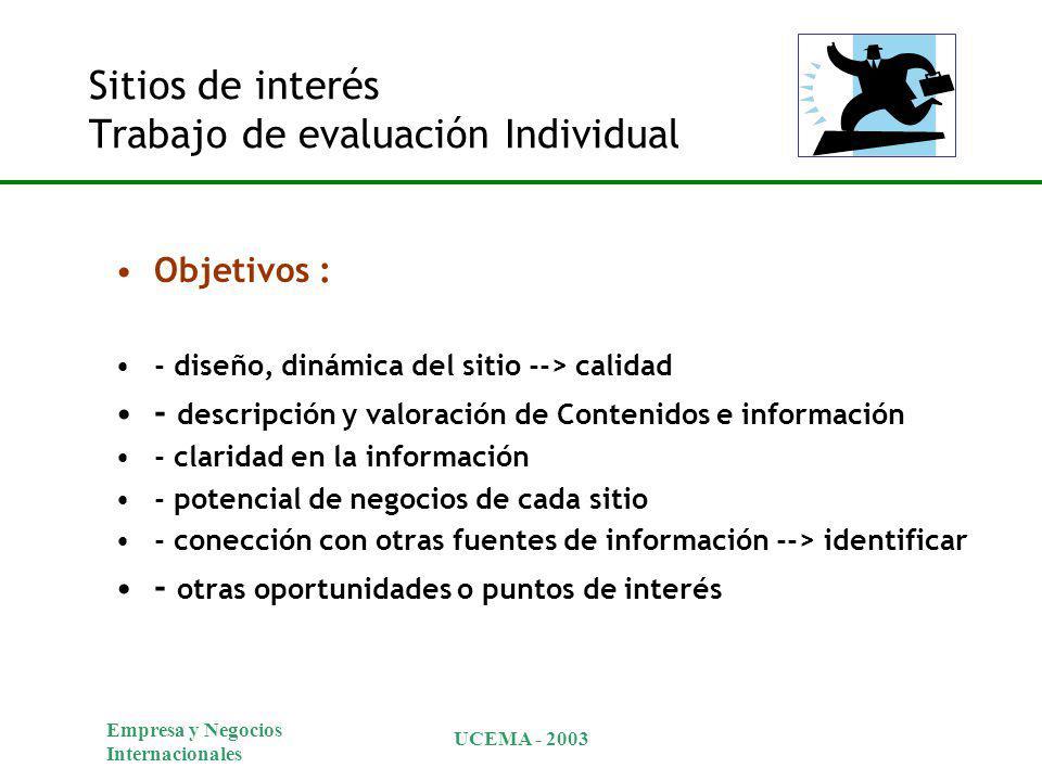 Empresa y Negocios Internacionales UCEMA - 2003 Sitios de interés Trabajo de evaluación Individual Objetivos : - diseño, dinámica del sitio --> calida