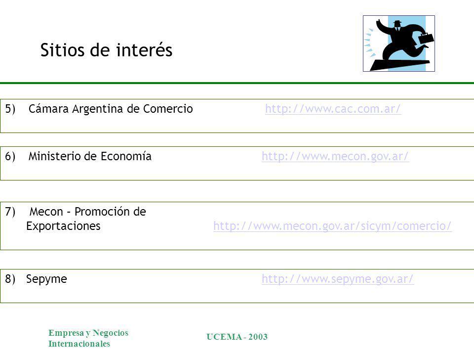 Empresa y Negocios Internacionales UCEMA - 2003 Sitios de interés 5)Cámara Argentina de Comercio http://www.cac.com.ar/http://www.cac.com.ar/ 6)Ministerio de Economía http://www.mecon.gov.ar/http://www.mecon.gov.ar/ 7) Mecon – Promoción de Exportaciones http://www.mecon.gov.ar/sicym/comercio/http://www.mecon.gov.ar/sicym/comercio/ 8) Sepyme http://www.sepyme.gov.ar/http://www.sepyme.gov.ar/
