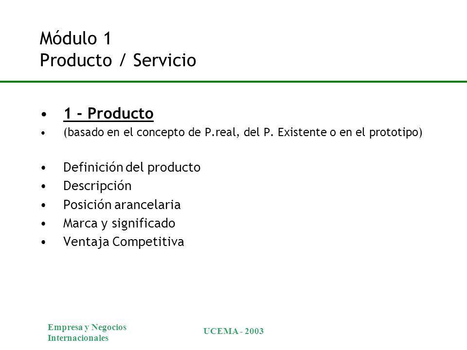 Empresa y Negocios Internacionales UCEMA - 2003 Módulo 1 Producto / Servicio 1 - Producto (basado en el concepto de P.real, del P. Existente o en el p