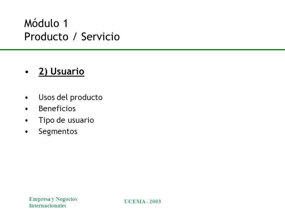 Empresa y Negocios Internacionales UCEMA - 2003 Módulo 1 Producto / Servicio 2) Usuario Usos del producto Beneficios Tipo de usuario Segmentos