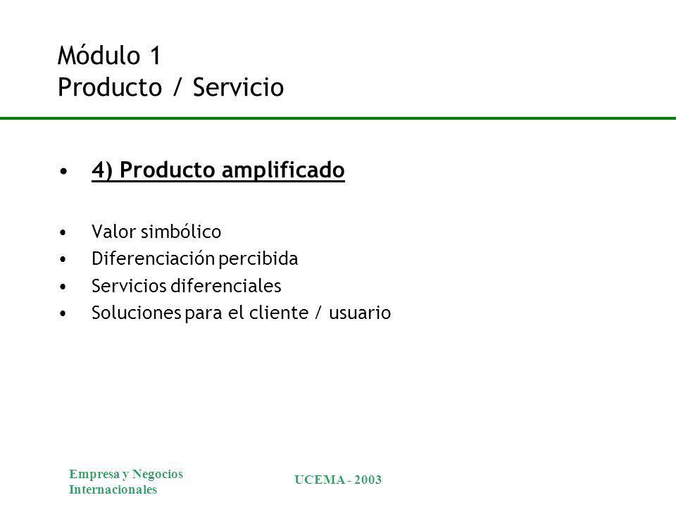 Empresa y Negocios Internacionales UCEMA - 2003 Módulo 1 Producto / Servicio 4) Producto amplificado Valor simbólico Diferenciación percibida Servicios diferenciales Soluciones para el cliente / usuario