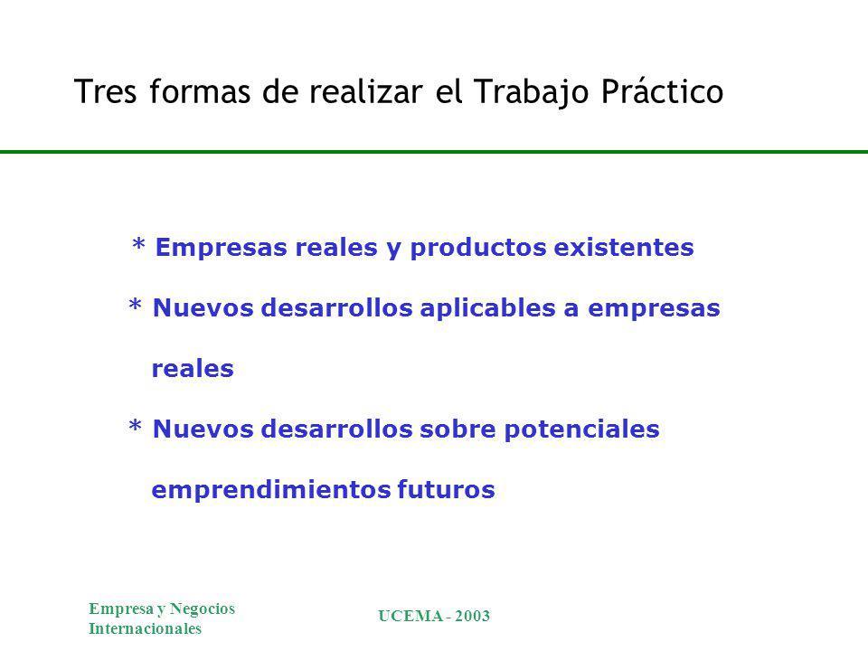 Empresa y Negocios Internacionales UCEMA - 2003 Tres formas de realizar el Trabajo Práctico * Empresas reales y productos existentes * Nuevos desarrollos aplicables a empresas reales * Nuevos desarrollos sobre potenciales emprendimientos futuros