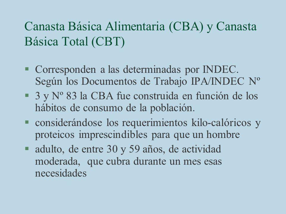 Canasta Básica Alimentaria (CBA) y Canasta Básica Total (CBT) §Corresponden a las determinadas por INDEC. Según los Documentos de Trabajo IPA/INDEC Nº