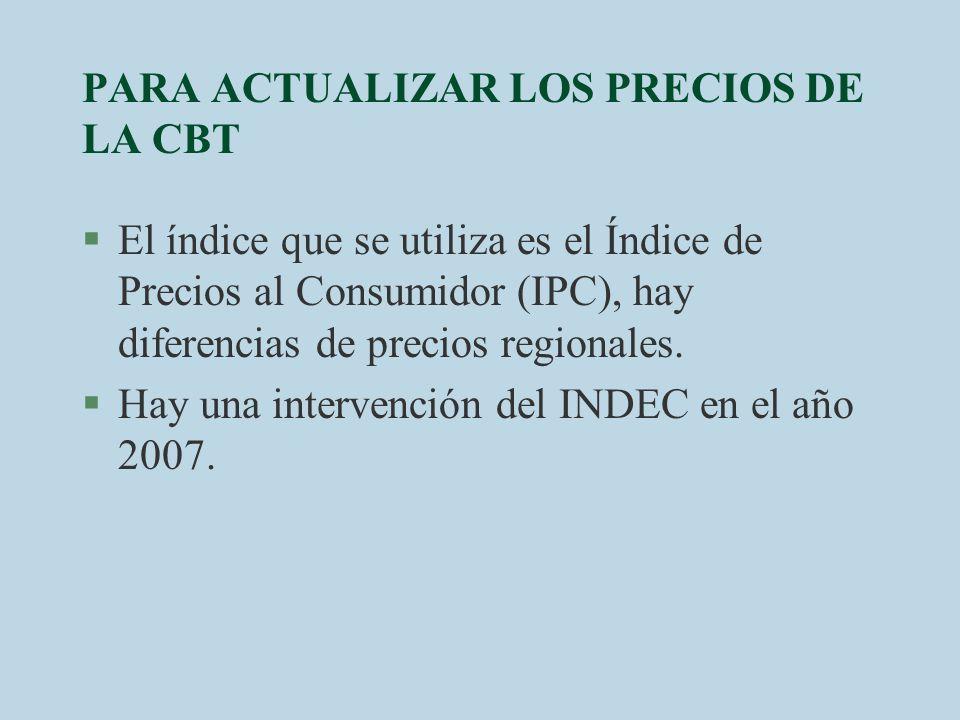 PARA ACTUALIZAR LOS PRECIOS DE LA CBT §El índice que se utiliza es el Índice de Precios al Consumidor (IPC), hay diferencias de precios regionales. §H