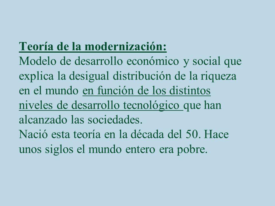 Teoría de la modernización: Modelo de desarrollo económico y social que explica la desigual distribución de la riqueza en el mundo en función de los d
