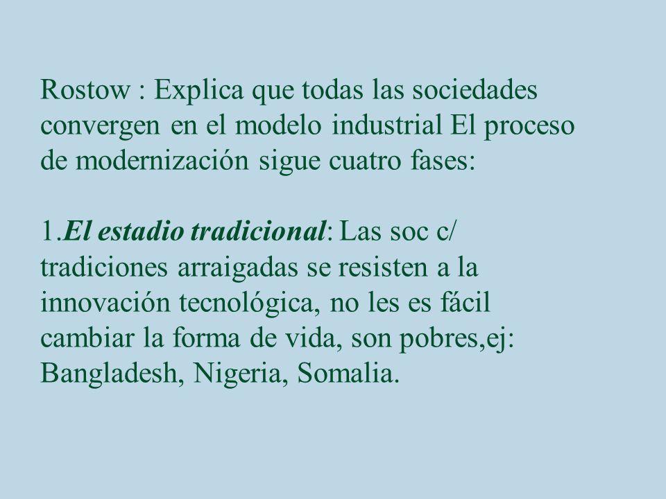 Rostow : Explica que todas las sociedades convergen en el modelo industrial El proceso de modernización sigue cuatro fases: 1.El estadio tradicional: