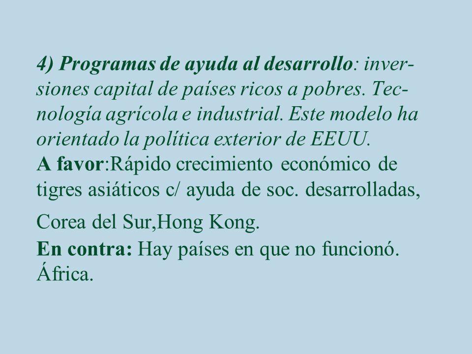 4) Programas de ayuda al desarrollo: inver- siones capital de países ricos a pobres. Tec- nología agrícola e industrial. Este modelo ha orientado la p