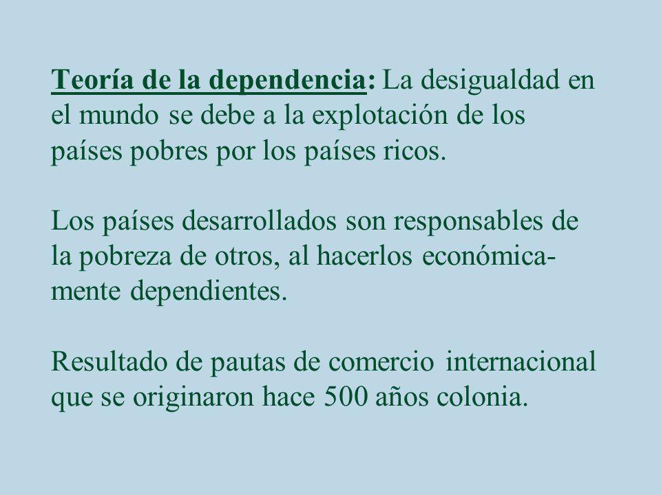 Teoría de la dependencia: La desigualdad en el mundo se debe a la explotación de los países pobres por los países ricos. Los países desarrollados son