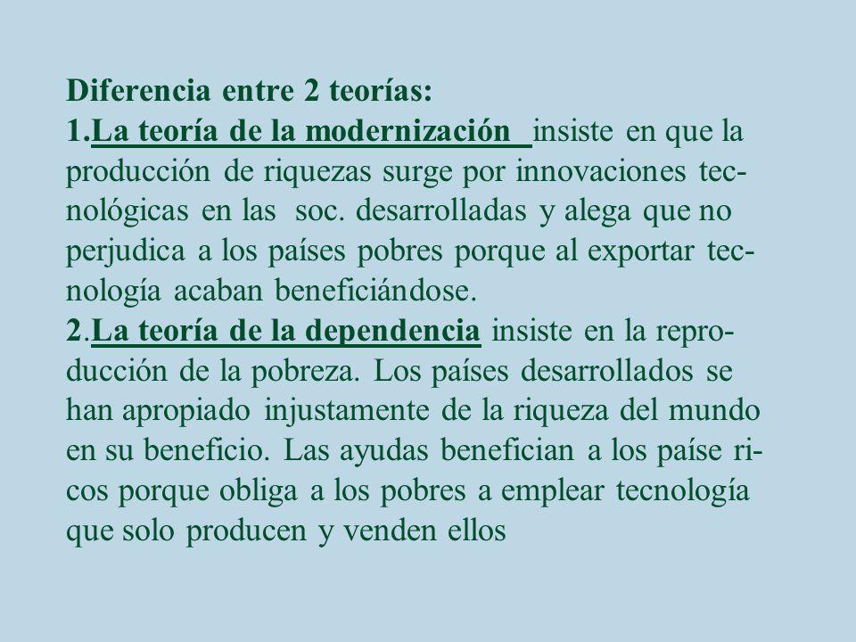 Diferencia entre 2 teorías: 1.La teoría de la modernización insiste en que la producción de riquezas surge por innovaciones tec- nológicas en las soc.