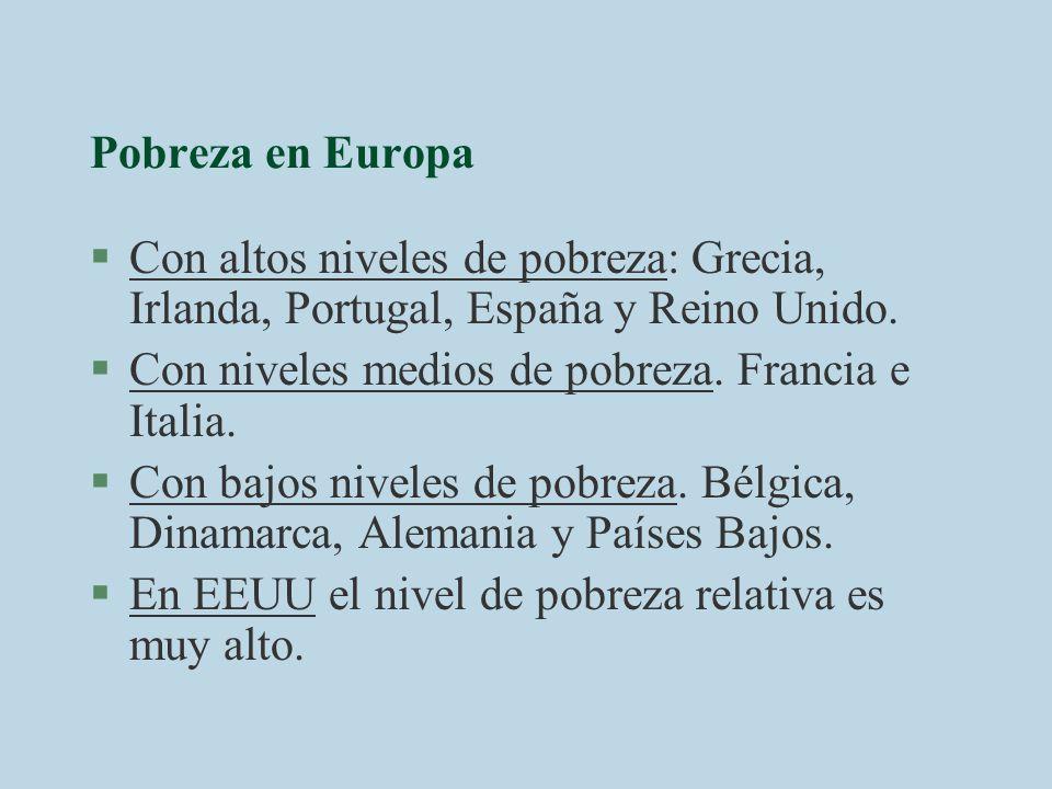 Pobreza en Europa §Con altos niveles de pobreza: Grecia, Irlanda, Portugal, España y Reino Unido. §Con niveles medios de pobreza. Francia e Italia. §C