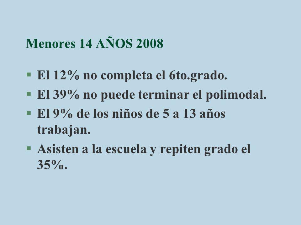 Menores 14 AÑOS 2008 §El 12% no completa el 6to.grado. §El 39% no puede terminar el polimodal. §El 9% de los niños de 5 a 13 años trabajan. §Asisten a
