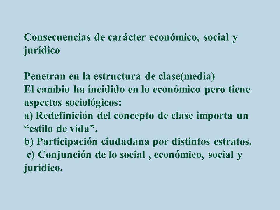 Consecuencias de carácter económico, social y jurídico Penetran en la estructura de clase(media) El cambio ha incidido en lo económico pero tiene aspe