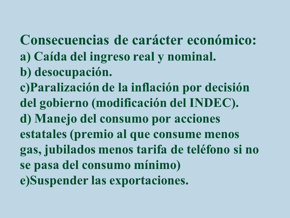 Consecuencias de carácter económico: a) Caída del ingreso real y nominal. b) desocupación. c)Paralización de la inflación por decisión del gobierno (m