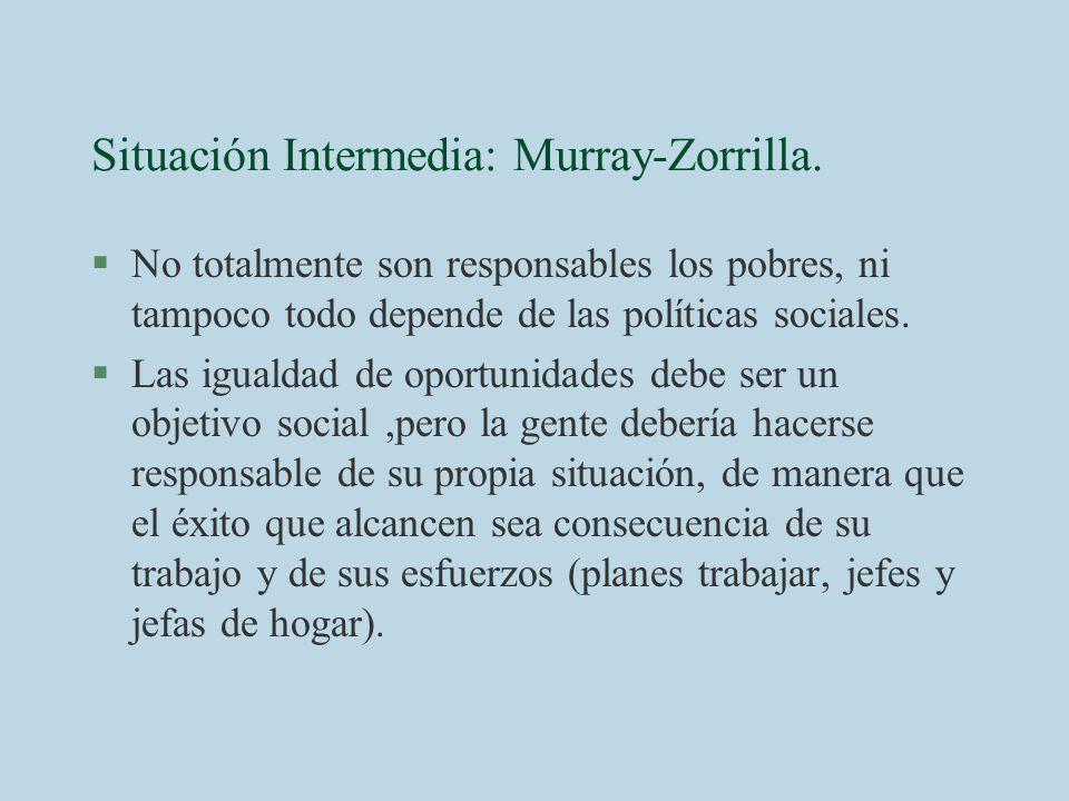 Situación Intermedia: Murray-Zorrilla. §No totalmente son responsables los pobres, ni tampoco todo depende de las políticas sociales. §Las igualdad de