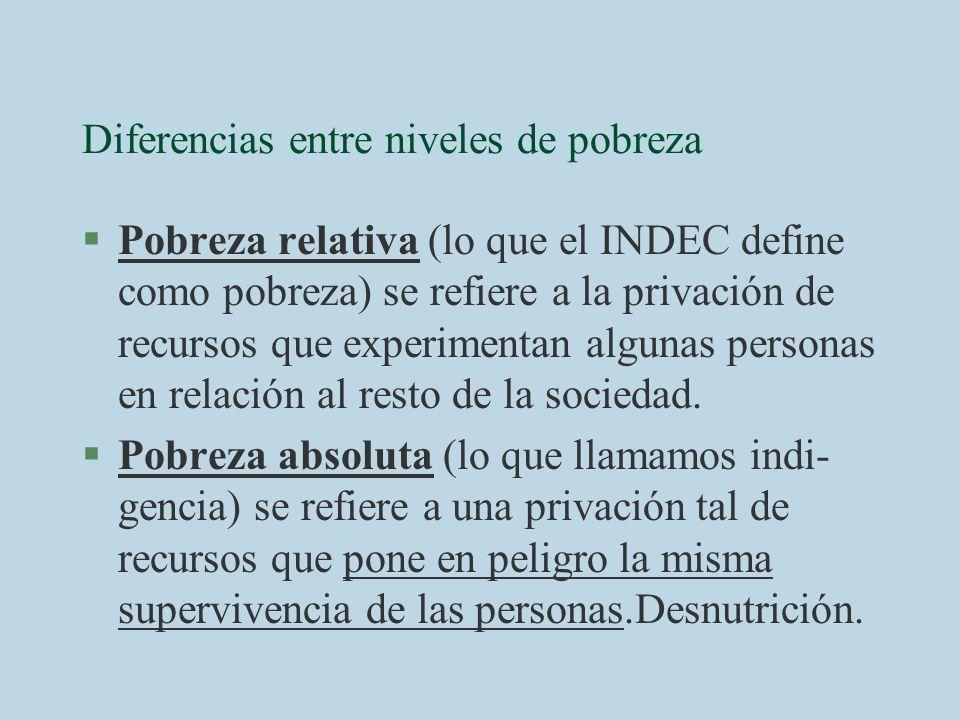 Diferencias entre niveles de pobreza §Pobreza relativa (lo que el INDEC define como pobreza) se refiere a la privación de recursos que experimentan al