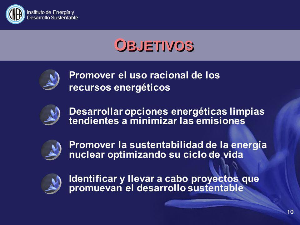 Promover el uso racional de los recursos energéticos Desarrollar opciones energéticas limpias tendientes a minimizar las emisiones Promover la sustent